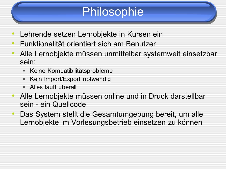 Philosophie Lehrende setzen Lernobjekte in Kursen ein