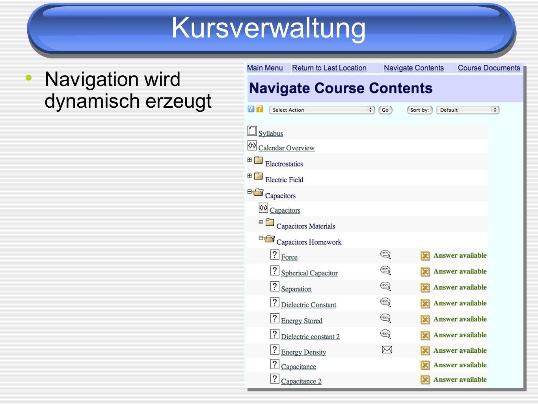 Kursverwaltung Navigation wird dynamisch erzeugt