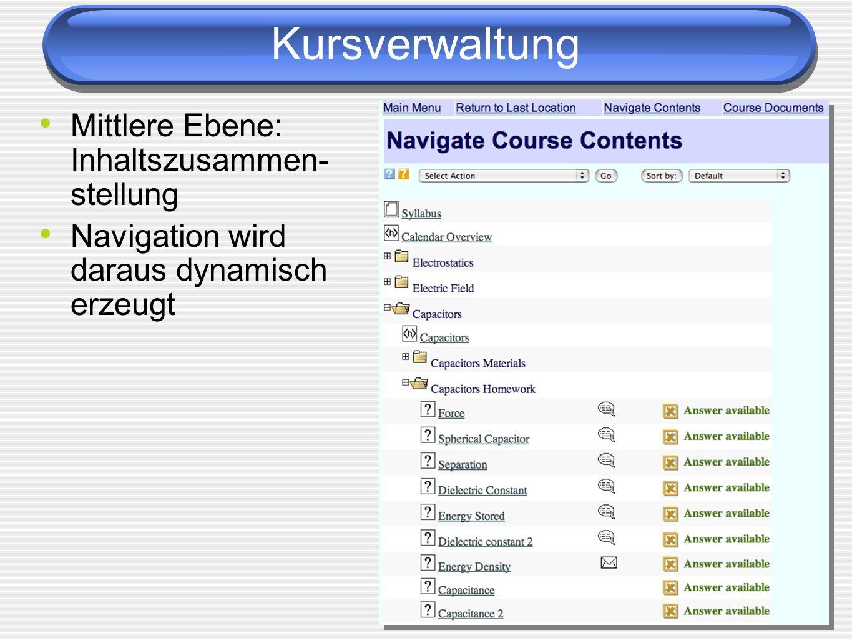 Kursverwaltung Mittlere Ebene: Inhaltszusammen-stellung