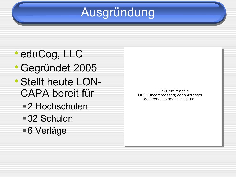 Ausgründung eduCog, LLC Gegründet 2005