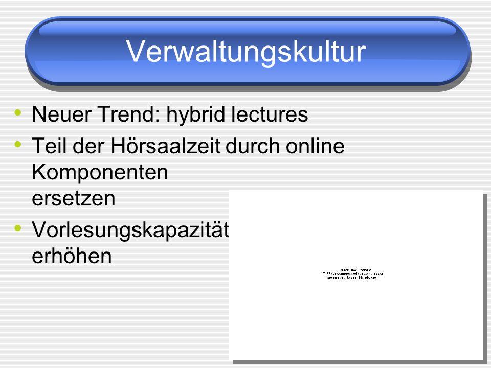 Verwaltungskultur Neuer Trend: hybrid lectures