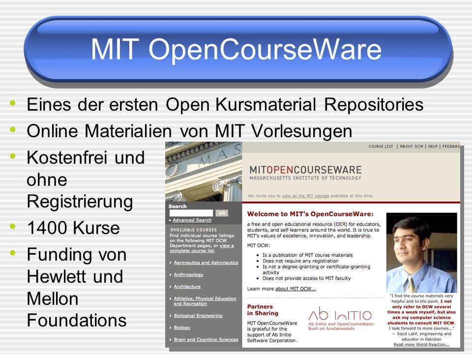 MIT OpenCourseWare Eines der ersten Open Kursmaterial Repositories