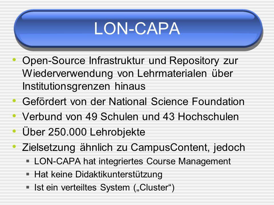 LON-CAPA Open-Source Infrastruktur und Repository zur Wiederverwendung von Lehrmaterialen über Institutionsgrenzen hinaus.