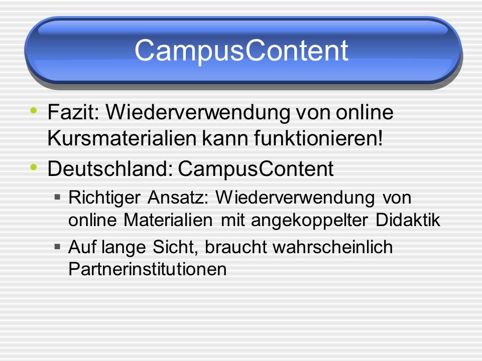 CampusContent Fazit: Wiederverwendung von online Kursmaterialien kann funktionieren! Deutschland: CampusContent.
