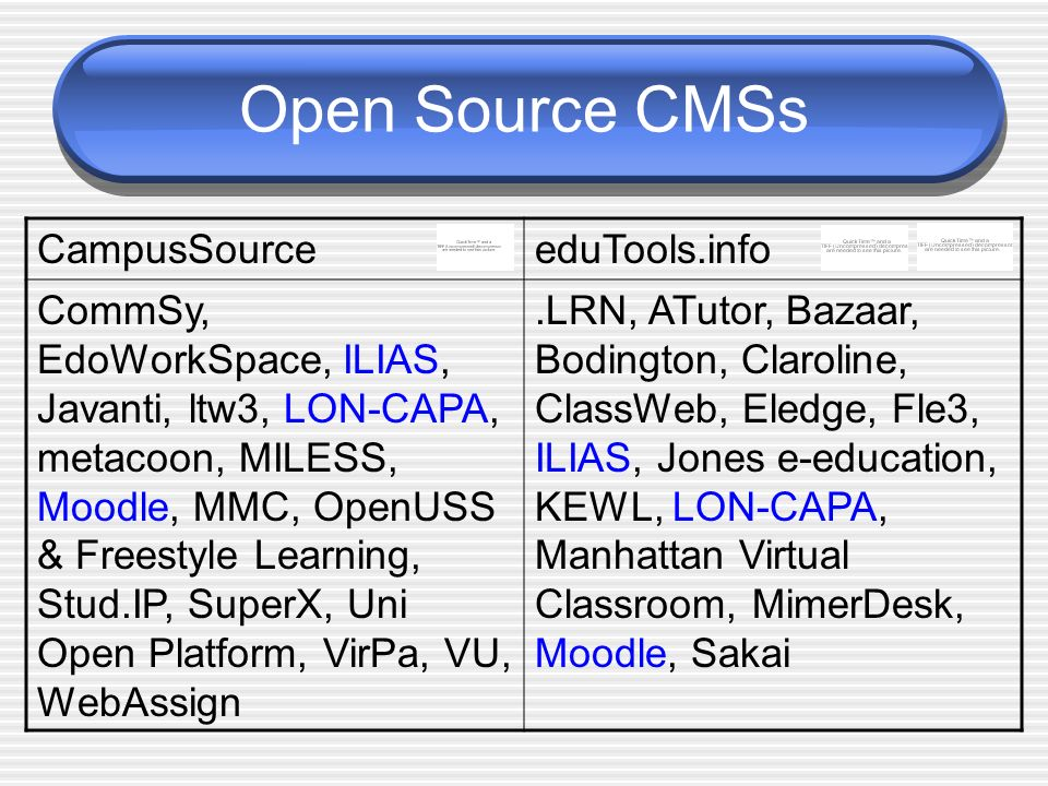 Open Source CMSs CampusSource eduTools.info