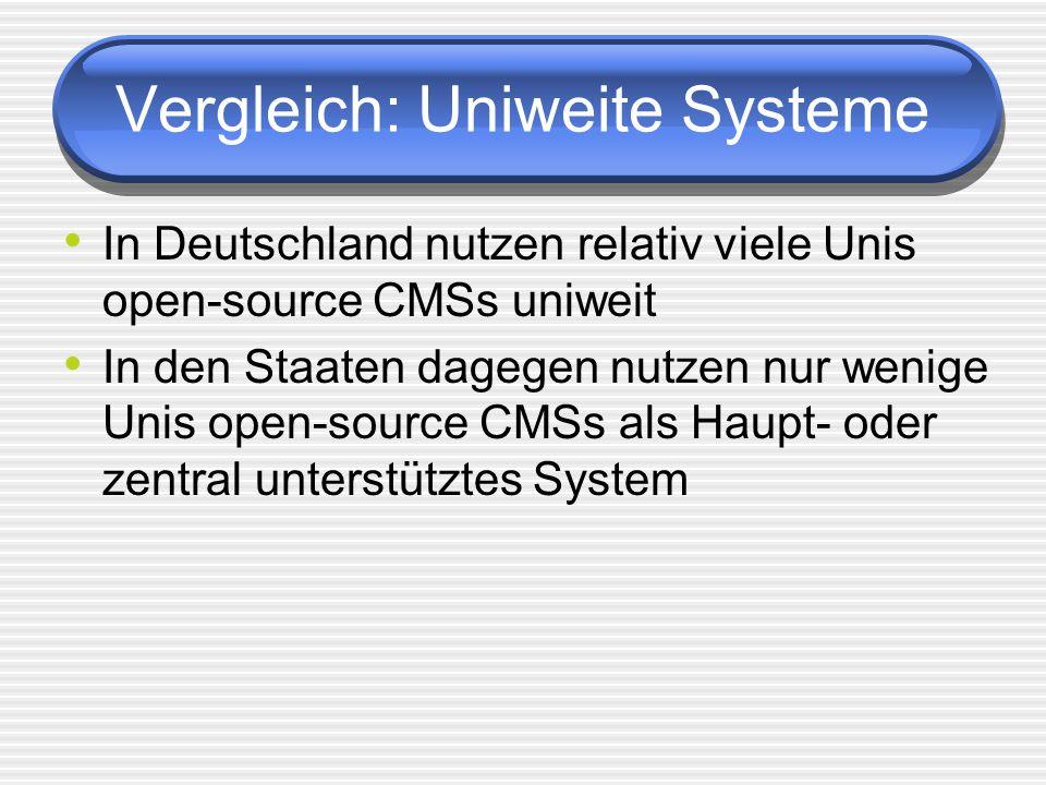 Vergleich: Uniweite Systeme