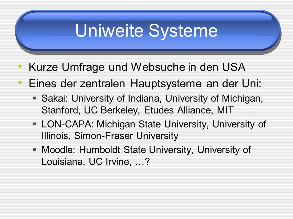 Uniweite Systeme Kurze Umfrage und Websuche in den USA