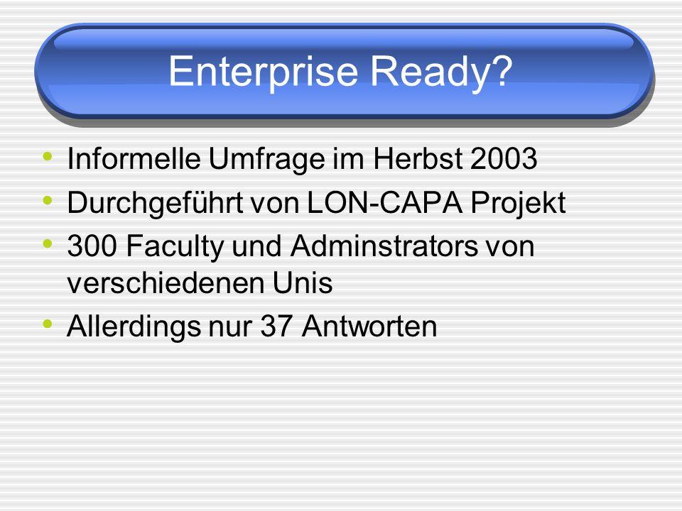 Enterprise Ready Informelle Umfrage im Herbst 2003