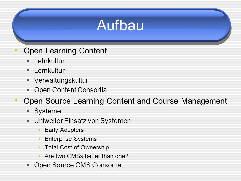 Aufbau Open Learning Content