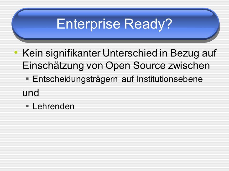 Enterprise Ready Kein signifikanter Unterschied in Bezug auf Einschätzung von Open Source zwischen.