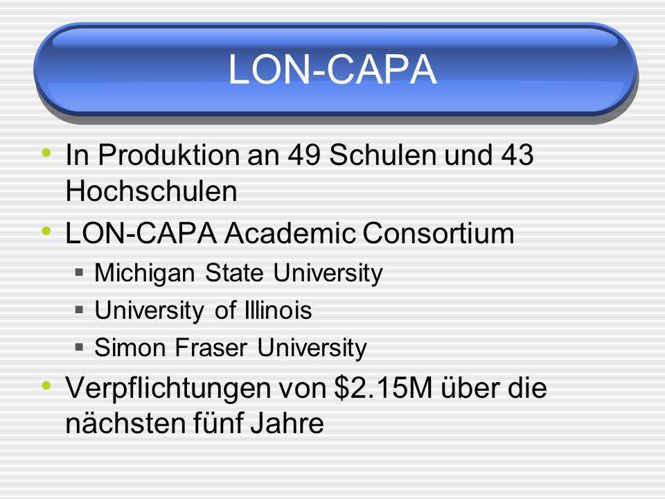 LON-CAPA In Produktion an 49 Schulen und 43 Hochschulen