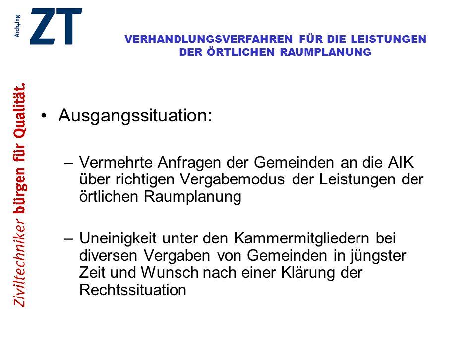 Ausgangssituation: Vermehrte Anfragen der Gemeinden an die AIK über richtigen Vergabemodus der Leistungen der örtlichen Raumplanung.