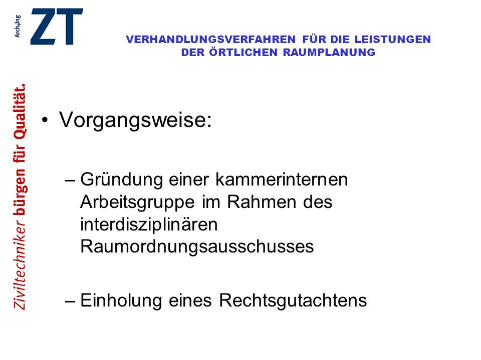 Vorgangsweise:Gründung einer kammerinternen Arbeitsgruppe im Rahmen des interdisziplinären Raumordnungsausschusses.