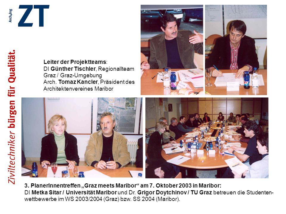 Leiter der Projektteams: DI Günther Tischler, Regionallteam Graz / Graz-Umgebung Arch. Tomaz Kancler, Präsident des Architektenvereines Maribor