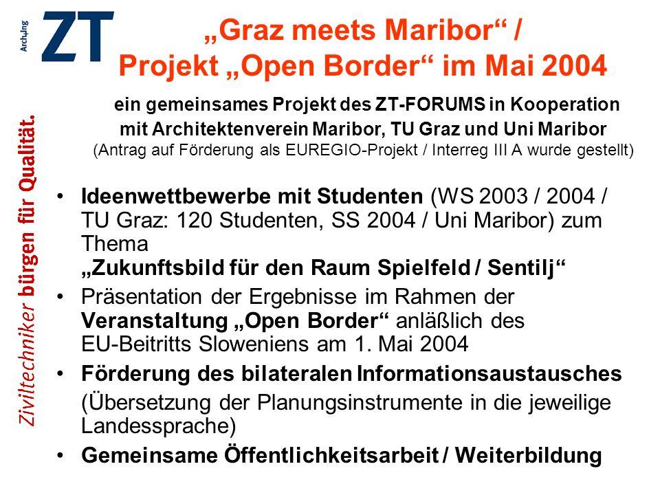 """""""Graz meets Maribor / Projekt """"Open Border im Mai 2004 ein gemeinsames Projekt des ZT-FORUMS in Kooperation mit Architektenverein Maribor, TU Graz und Uni Maribor (Antrag auf Förderung als EUREGIO-Projekt / Interreg III A wurde gestellt)"""