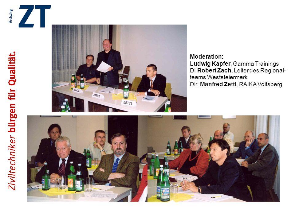 Moderation: Ludwig Kapfer, Gamma Trainings DI Robert Zach, Leiter des Regional- teams Weststeiermark Dir.