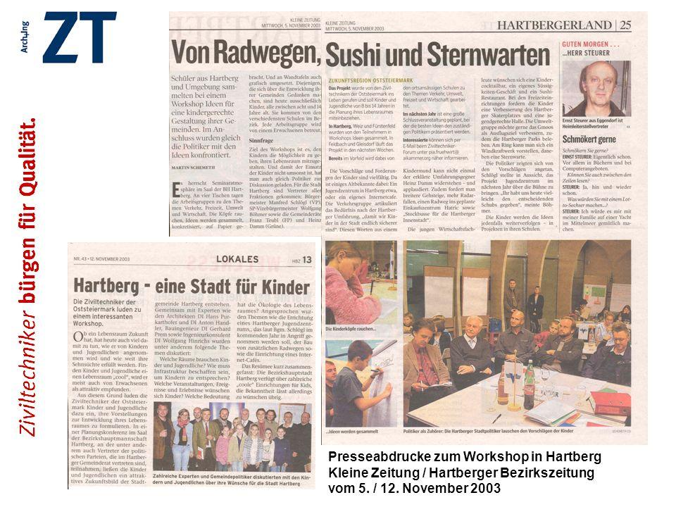 Presseabdrucke zum Workshop in Hartberg Kleine Zeitung / Hartberger Bezirkszeitung vom 5.