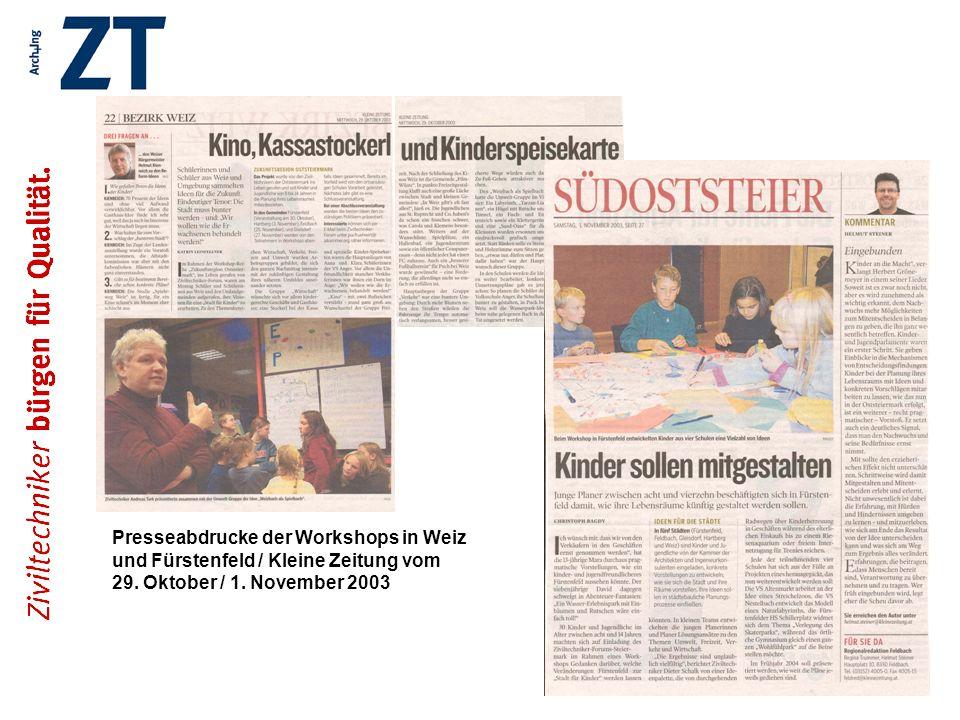 Presseabdrucke der Workshops in Weiz und Fürstenfeld / Kleine Zeitung vom 29.