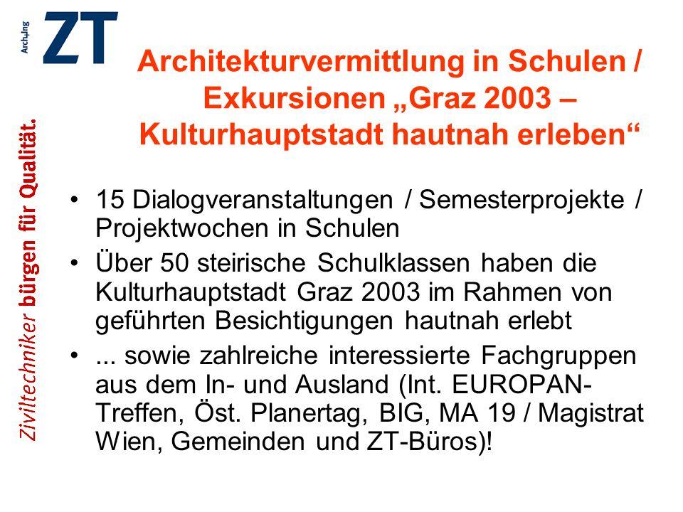 """Architekturvermittlung in Schulen / Exkursionen """"Graz 2003 – Kulturhauptstadt hautnah erleben"""