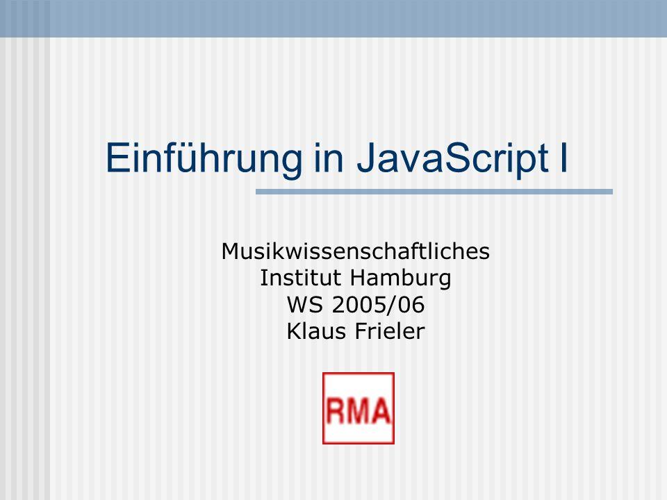 Einführung in JavaScript I