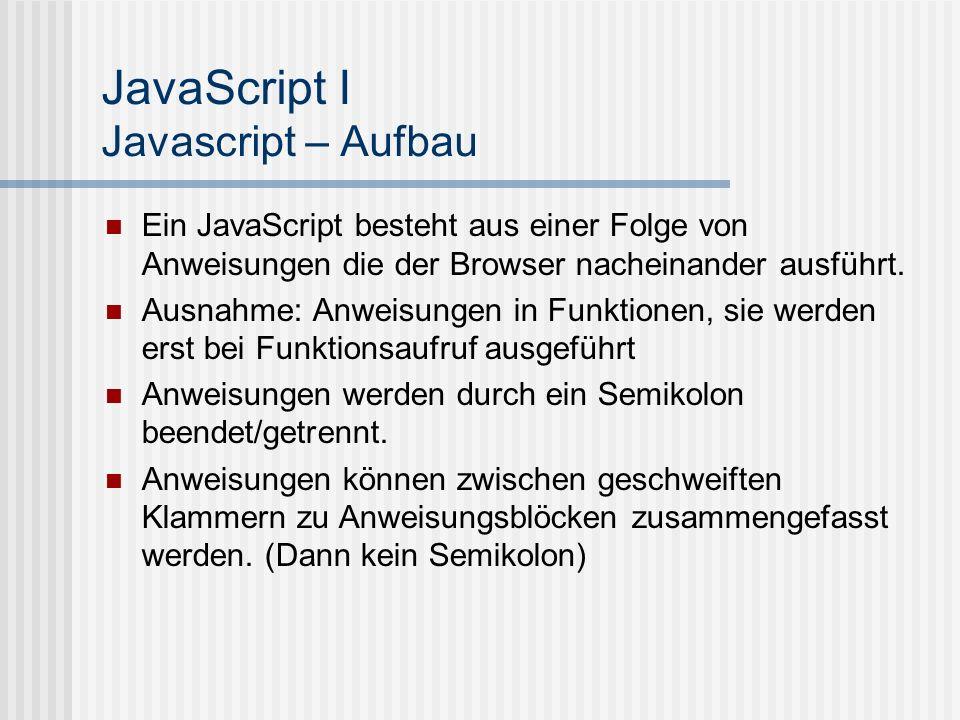 JavaScript I Javascript – Aufbau