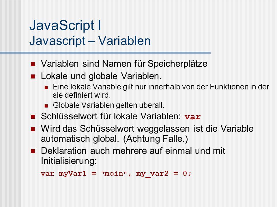 JavaScript I Javascript – Variablen