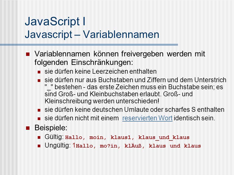 JavaScript I Javascript – Variablennamen