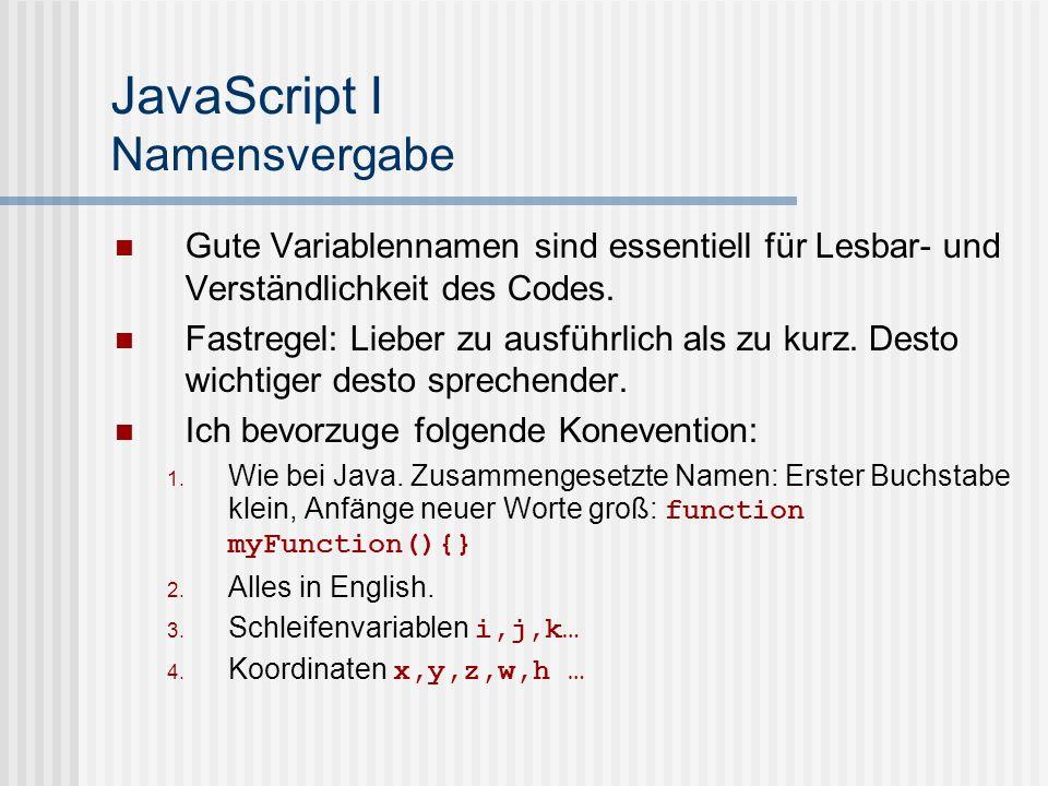 JavaScript I Namensvergabe