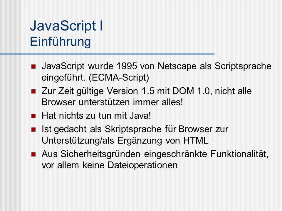 JavaScript I Einführung