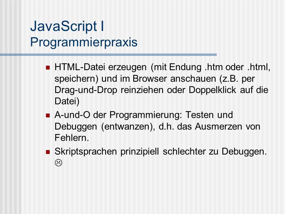 JavaScript I Programmierpraxis