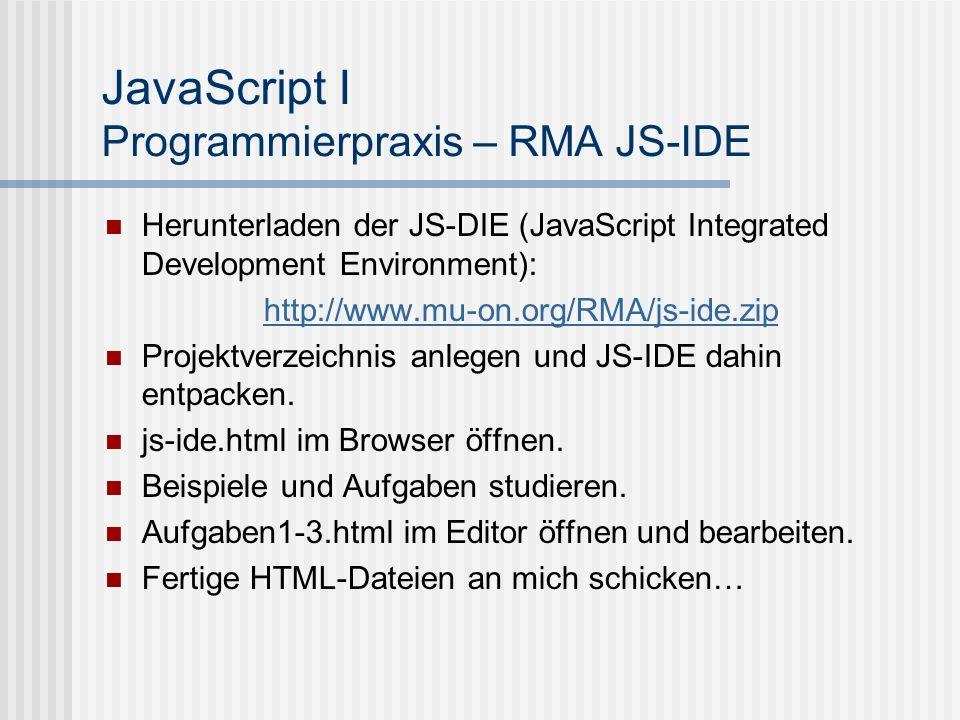 JavaScript I Programmierpraxis – RMA JS-IDE