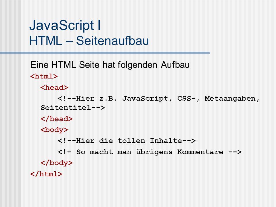JavaScript I HTML – Seitenaufbau
