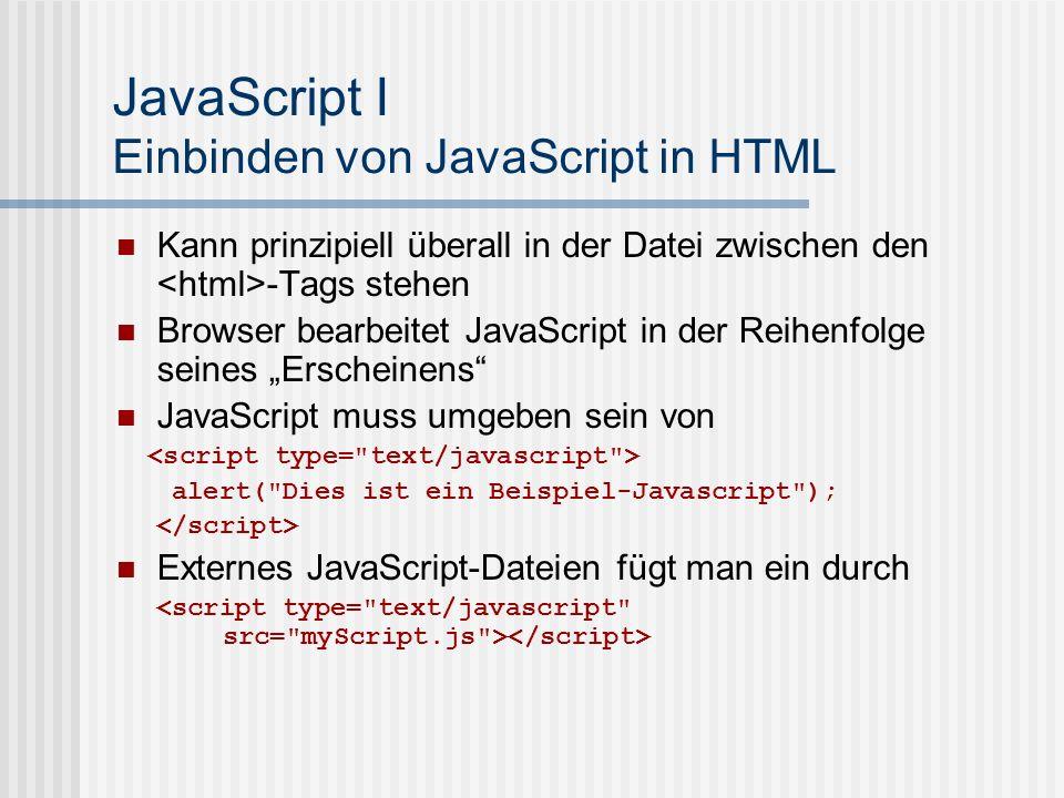 JavaScript I Einbinden von JavaScript in HTML
