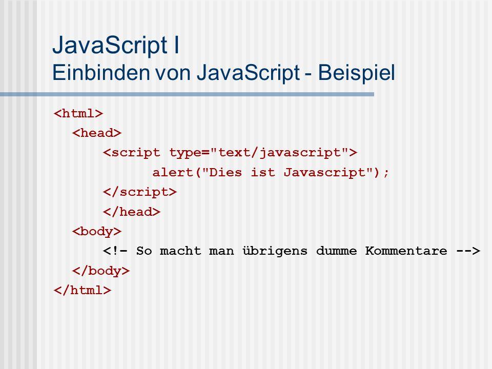JavaScript I Einbinden von JavaScript - Beispiel