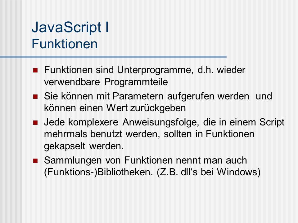JavaScript I Funktionen