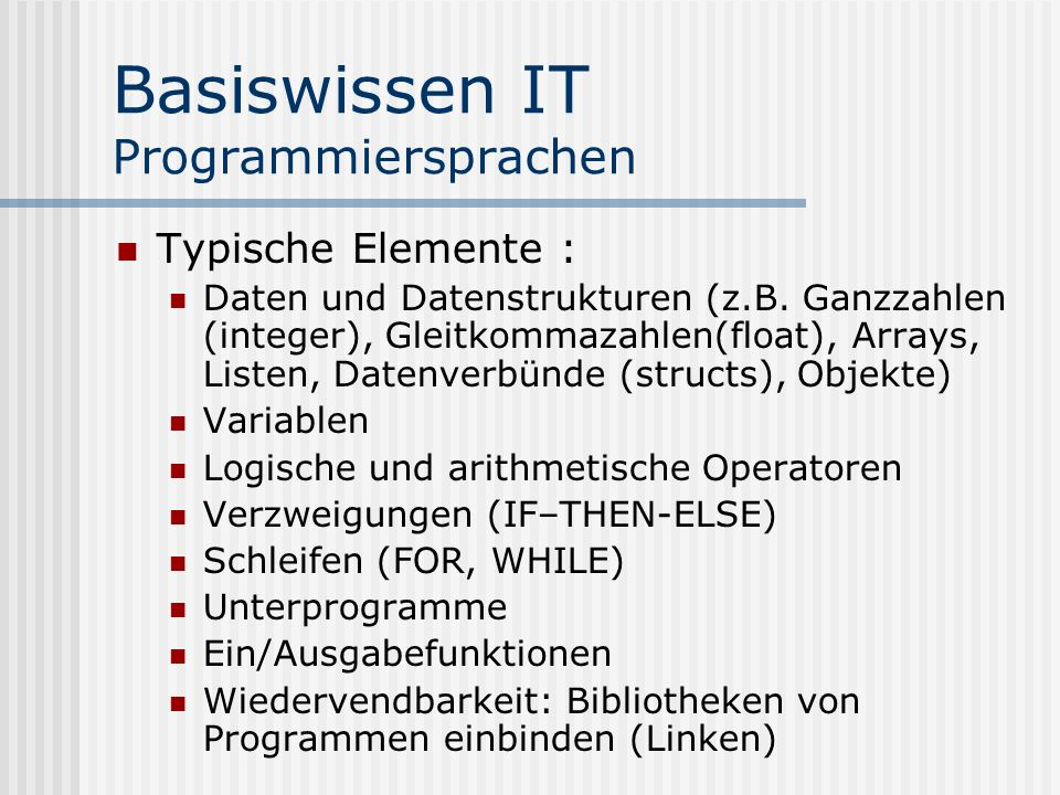 Basiswissen IT Programmiersprachen