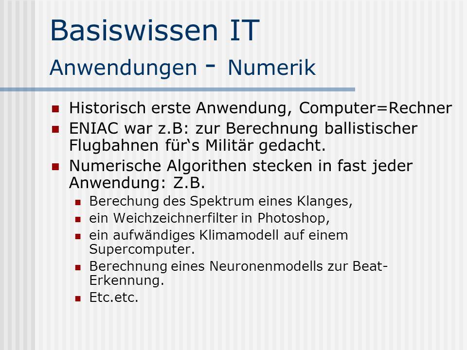 Basiswissen IT Anwendungen - Numerik