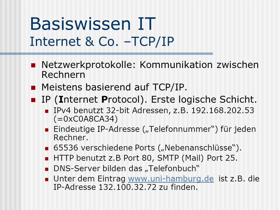 Basiswissen IT Internet & Co. –TCP/IP
