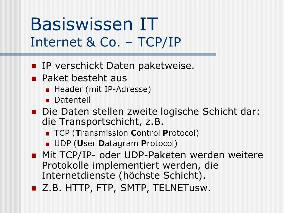 Basiswissen IT Internet & Co. – TCP/IP