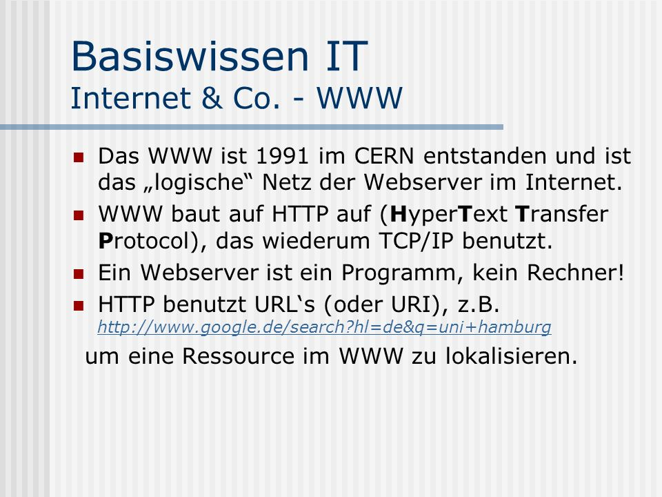 Basiswissen IT Internet & Co. - WWW