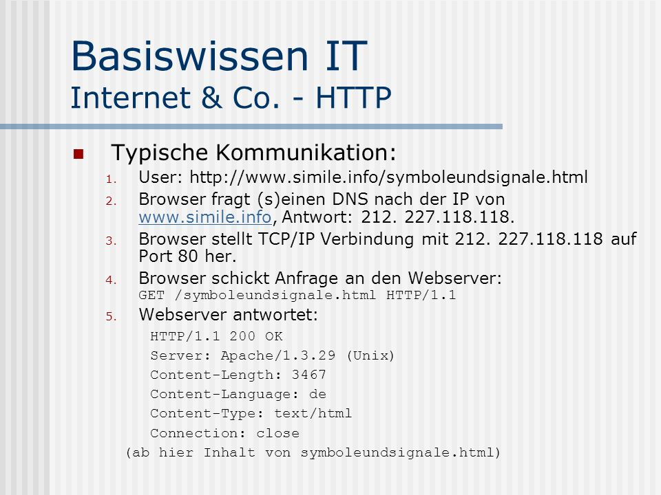 Basiswissen IT Internet & Co. - HTTP