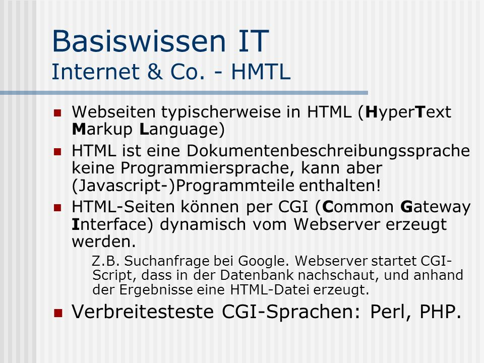 Basiswissen IT Internet & Co. - HMTL