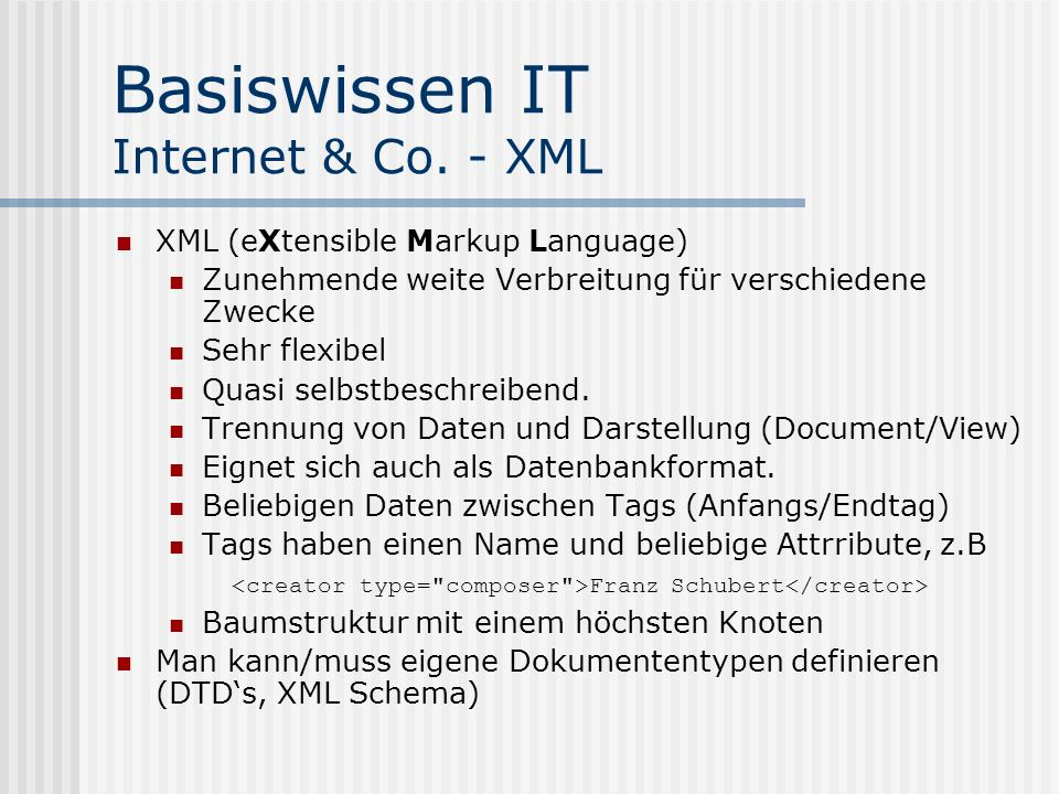 Basiswissen IT Internet & Co. - XML