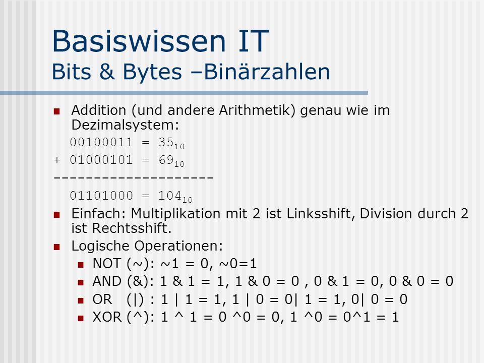 Basiswissen IT Bits & Bytes –Binärzahlen