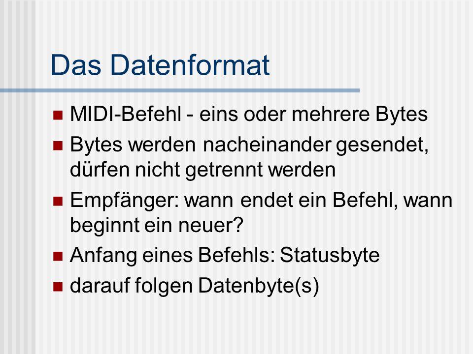 Das Datenformat MIDI-Befehl - eins oder mehrere Bytes