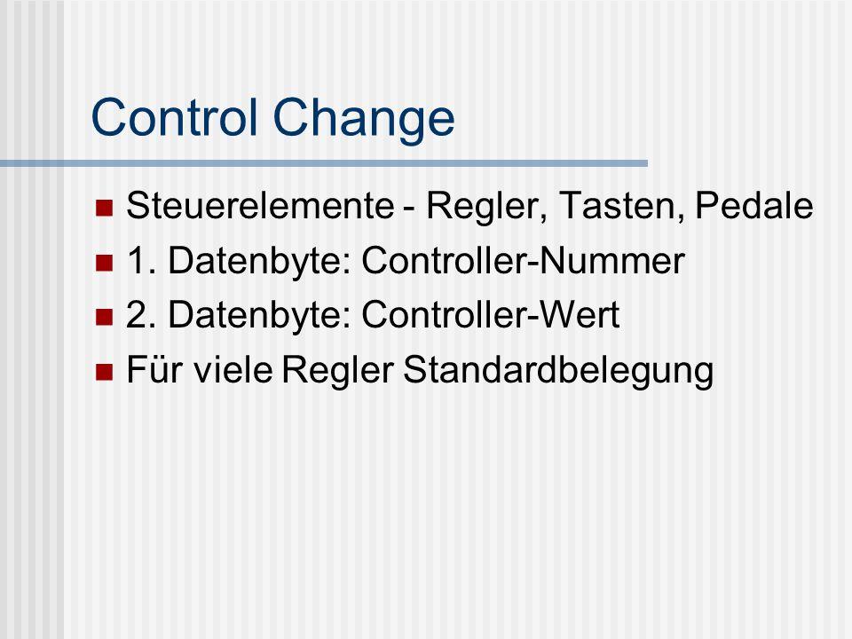 Control Change Steuerelemente - Regler, Tasten, Pedale