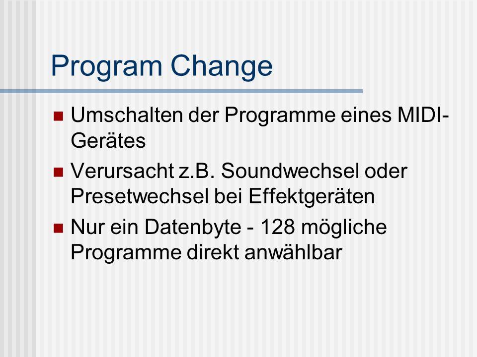 Program Change Umschalten der Programme eines MIDI-Gerätes