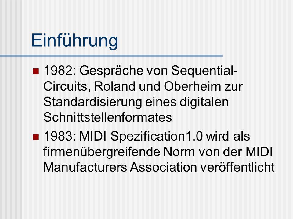 Einführung 1982: Gespräche von Sequential-Circuits, Roland und Oberheim zur Standardisierung eines digitalen Schnittstellenformates.