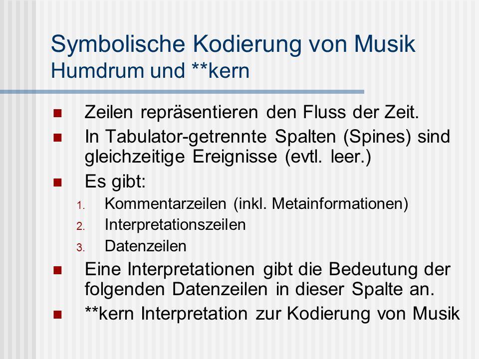 Symbolische Kodierung von Musik Humdrum und **kern