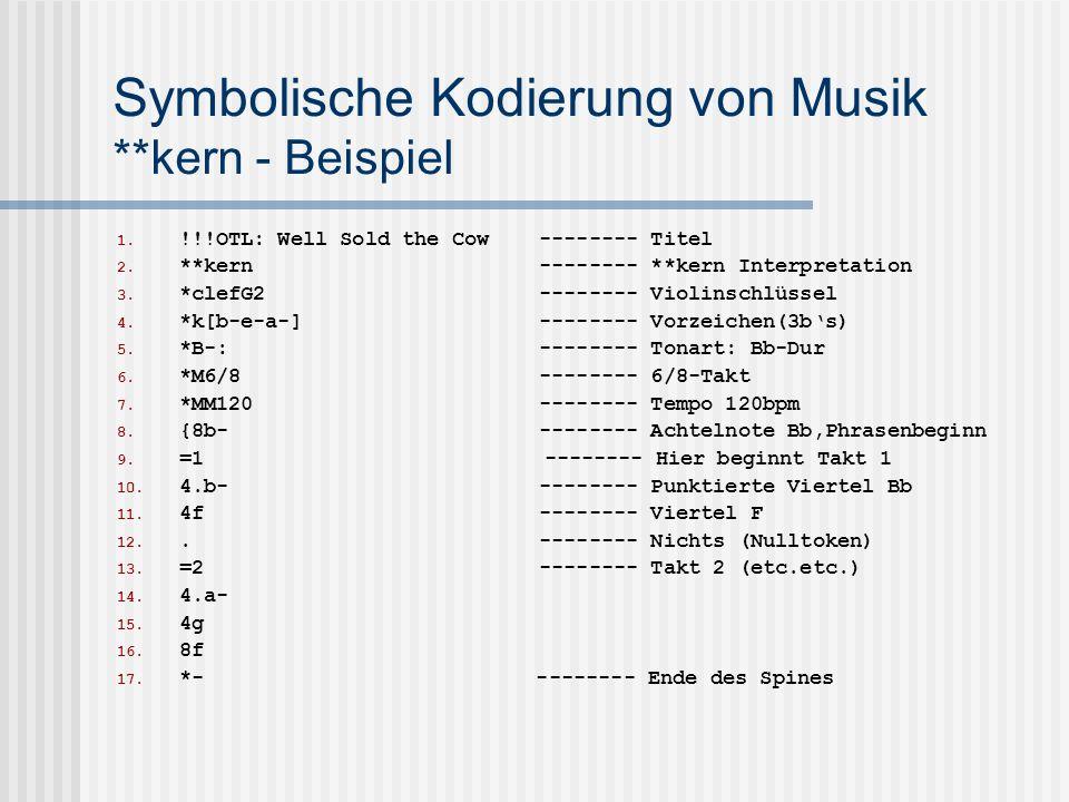 Symbolische Kodierung von Musik **kern - Beispiel